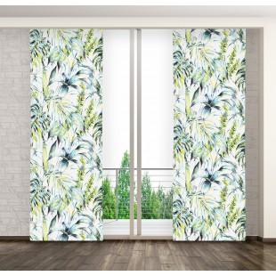 Biely panelový záves s exotickým motívom rastlín