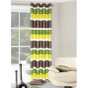 Hnedo-zeleno-žltý pruhovaný záves na okno