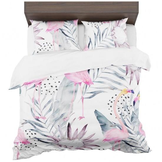 Biele posteľné obliečky s exotickým motívom plameniakov