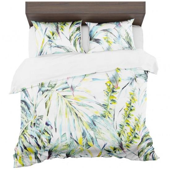 Biele posteľné obliečky so zelenými rastlinami