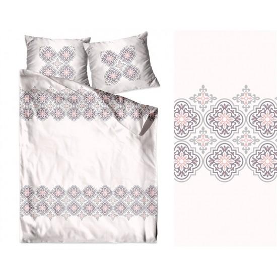 Béžovo ružovo biele posteľné obliečky z bavlny