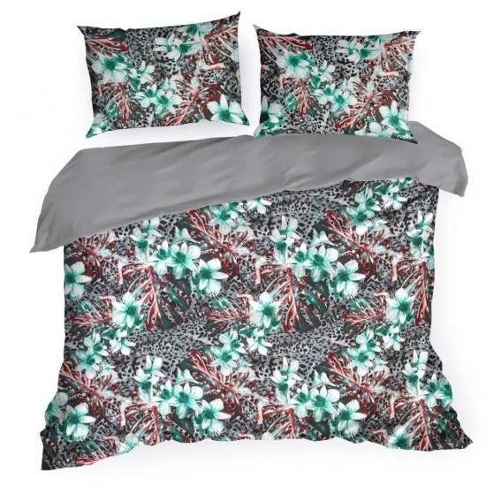 Kvalitné vzorované posteľné obliečky s modrými kvetmi