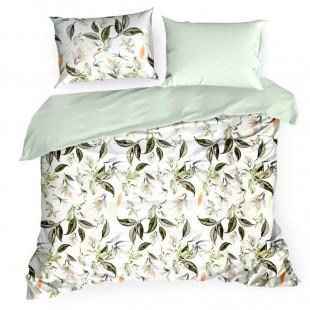 Bielo zelené bavlnené posteľné obliečky s motívom kvetov s listami