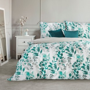 Biele posteľné obliečky zo saténovej bavlny so zeleným lístím