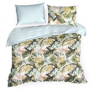 Biele posteľné obliečky zo saténovej bavlny s exotickým motívom