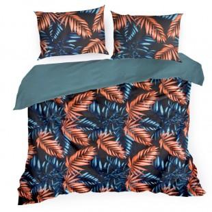 Tmavomodré posteľné obliečky zo saténovej bavlny s palmovými listami
