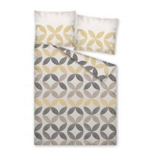 Béžové obojstranné posteľné obliečky so vzorom