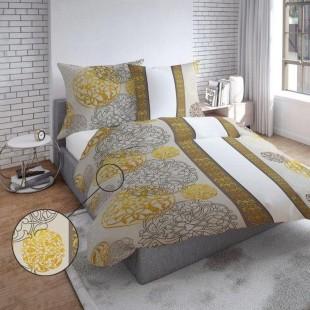 Béžovo biele elegantné obojstranné posteľné obliečky so vzorom