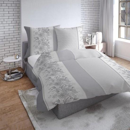 Sivé obojstranné posteľné obliečky so vzorom kvetov