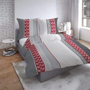 Červeno sivo biele obojstranné posteľné obliečky so vzorom