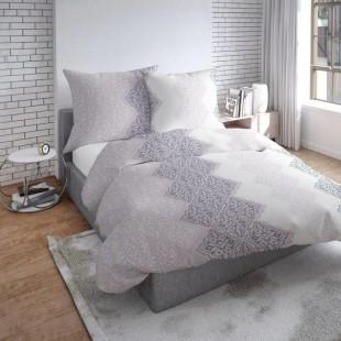 Béžovo biele obojstranné posteľné obliečky s ornamentmi