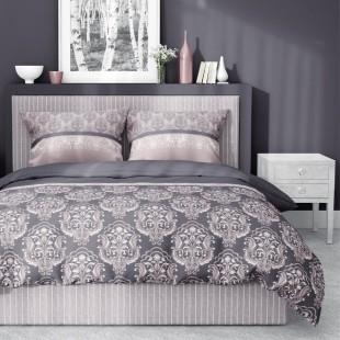 Ružovo sivé elegantné bavlnené obojstranné posteľné obliečky so vzorom