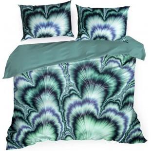 Modré posteľné obliečky z bavlny s abstraktným vzorom