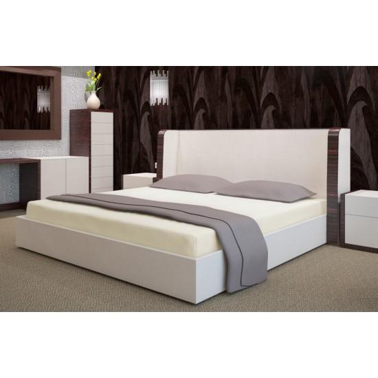 Krémová posteľná plachta zo saténovej bavlny bez gumičky