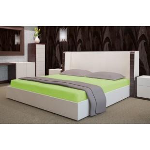 Zelená posteľná plachta zo saténovej bavlny bez gumičky