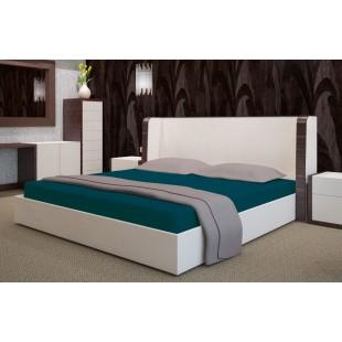 Tmavotyrkysová posteľná plachta zo saténovej bavlny bez gumičky
