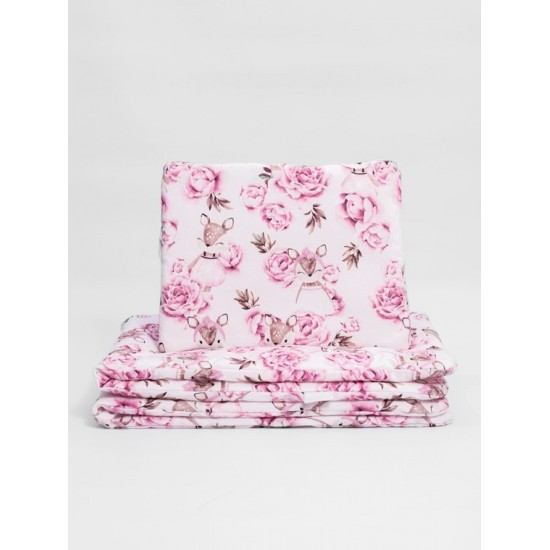 Bavlnená detská posteľná bielizeň s motívom srnky a kvetiniek