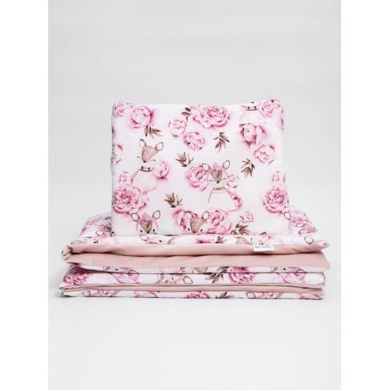Zamatovo bavlnená detská posteľná bielizeň s motívom srnky a kvetiniek