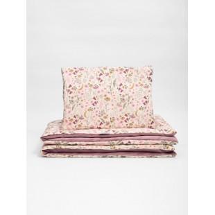 Zamatovo bavlnená detská posteľná bielizeň s motívom lúčnych kvetov