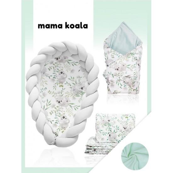 Svetlosivá výbava pre novorodenca Mama Koala s kombinovanou zamatovou prikrývkou