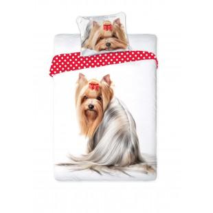 Obojstranné posteľné obliečky s motívom jorkšíra s mašličkou