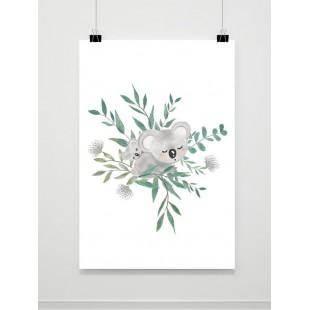 Detský plagát s motívom koaly a lístia