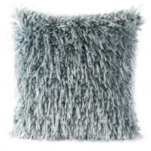 Chlpatá sivá ozdobná obliečka na vankúš