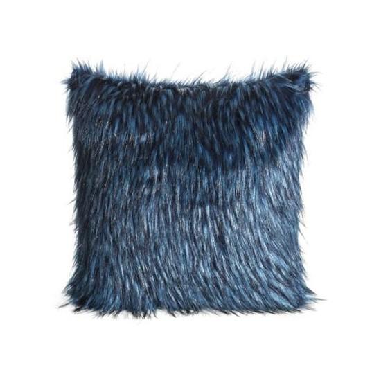Modrá melírovaná chlpatá obliečka na vankúš