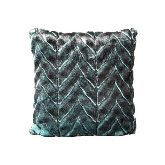 Zelená plyšová obliečka na vankúš so vzorom