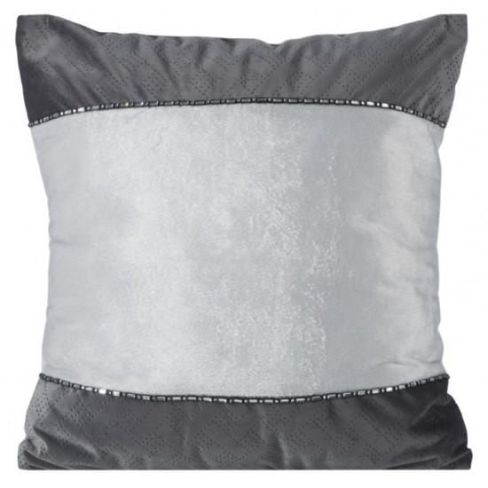 Sivo strieborná obliečka na vankúš so vzorom