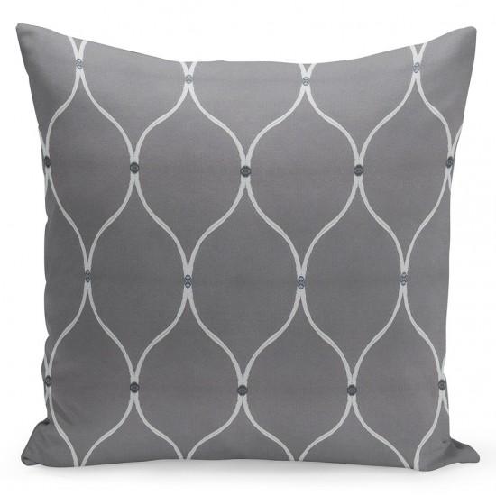 Sivo biela elegantná dekoračná obliečka na vankúšik so vzorom
