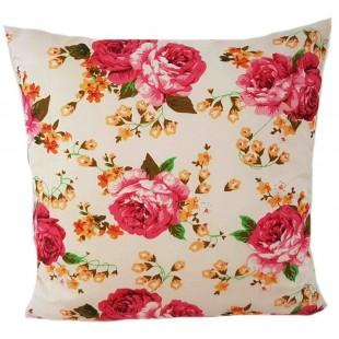 Krémová dekoračná obliečka na vankúš so vzorom kvetov