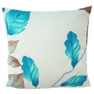 Krémová dekoračná obliečka na vankúš so vzorom modro béžových listov