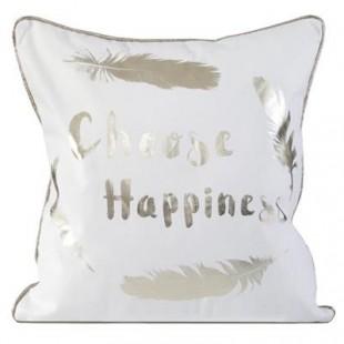 Bielo strieborná elegantná obliečka na vankúš s nápisom Choose Happiness