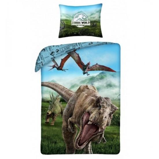 Modré posteľné obliečky s motívom Jurský park
