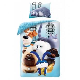 Modré detské posteľné obliečky s motívom Pets