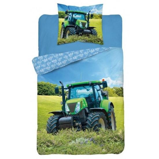 Modro zelené detské posteľné obliečky s motívom traktora