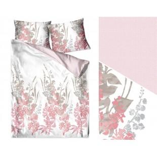 Elegantná biela bavlnená posteľná obliečka s ružovo sivými kvetmi