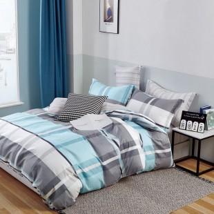 Modro sivé obojstranné posteľné obliečky s pruhmi