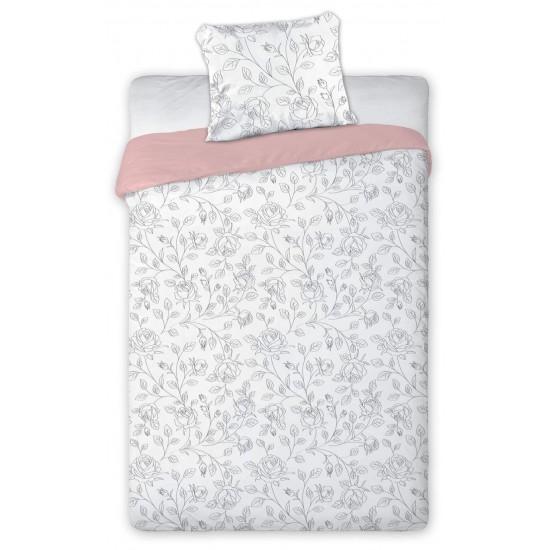 Obojstranné bielo ružové posteľné obliečky so sivým vzorom