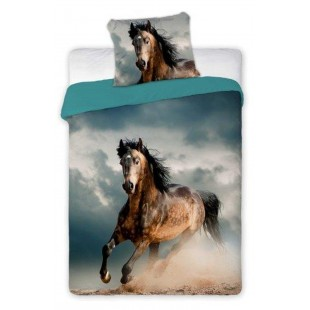 3D detské posteľné obliečky na posteľ s motívom hnedého cválajúceho koňa