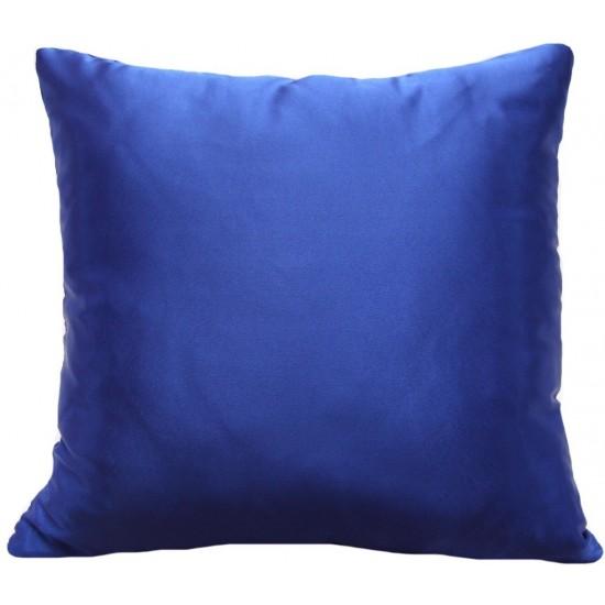Modrá lesklá jednofarebná obliečka na vankúš