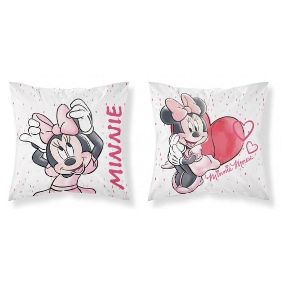 Detská ružovo biela obojstranná obliečka na vankúš Minnie Mouse
