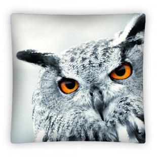 Sivá obliečka na vankúš so sovou