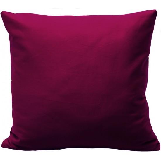 Bordová jednofarebná obliečka na vankúš zo saténovej bavlny