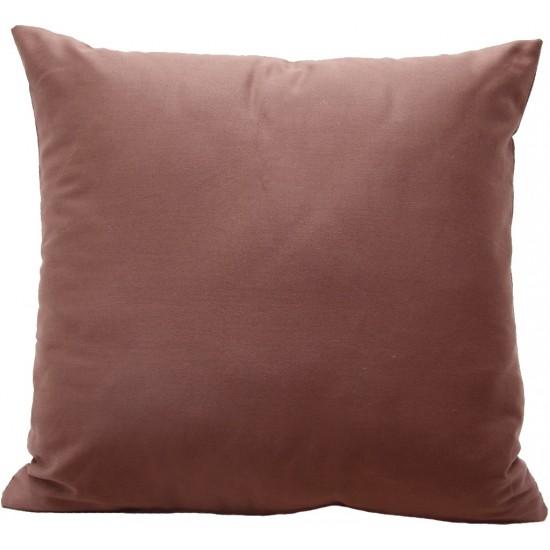 Tmavokakaová dekoračná jednofarebná obliečka na vankúš