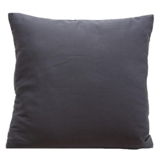 Tmavosivá obliečka na vankúš zo saténovej bavlny