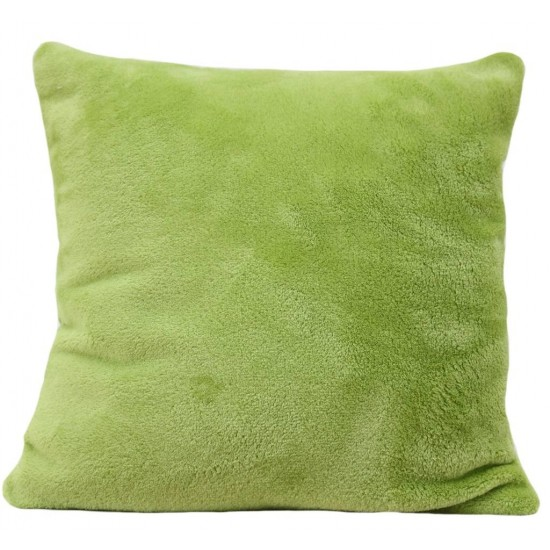 Mäkká plyšová obliečka na vankúš v zelenej farbe