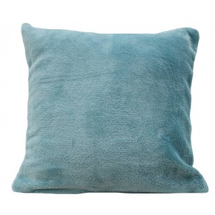 Mäkká plyšová obliečka na vankúš v blankytne modrej farbe