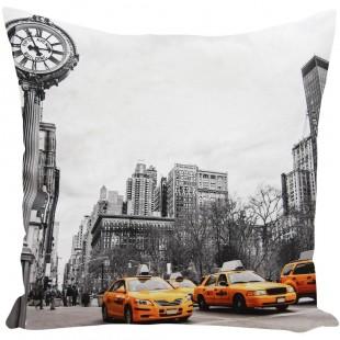 3D dekoračná obliečka na vankúš s motívom New Yorku